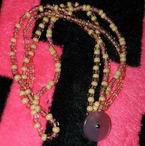 Jewelry - 4 Strand Glass Bead Bracelet W/ Vintage Button